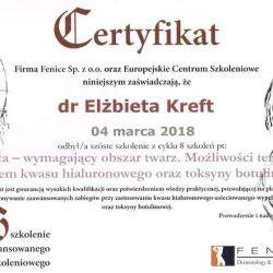 Elżbieta Kreft certyfikat 1