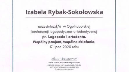 Izabela Rybak-Sokołowska - certyfikat 29061201