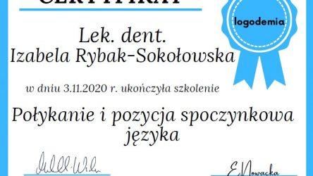 Izabela Rybak-Sokołowska - Certyfikat - Połykanie