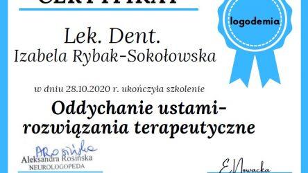 Izabela Rybak-Sokołowska - certyfikat Oddychania ustami