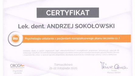 Andrzej Sokołowski - certyfikat psychologia1