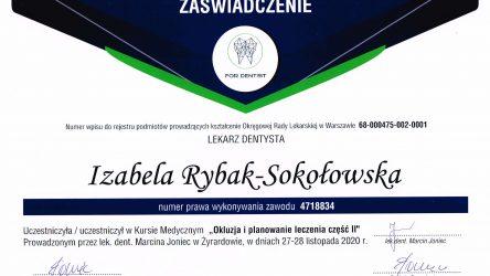 Izabela Sokołowska - certyfikat _ okluzja
