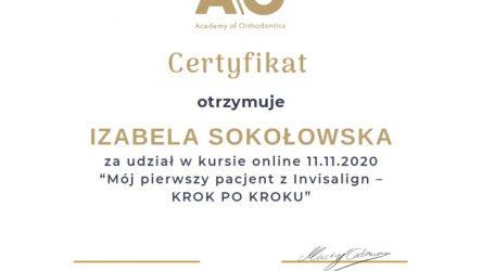 Izabela Rybak-Sokołowska - certyfikat Invisalign