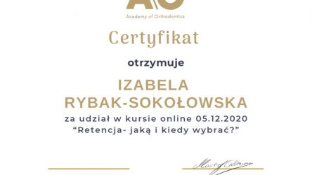 Izabela Rybak-Sokołowska - certyfikat Retencja