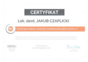 Jakub Czaplicki - certyfikat 201