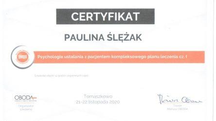 Paulina Ślężak - certyfikat 201