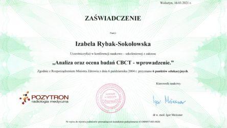 Izabela Rybak-Sokołowska - certyfikat - CBCT
