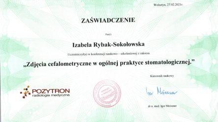 Izabela Rybak-Sokołowska - certyfikat - zdjęcia cefalo