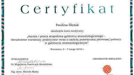 Paulina Ślężak - cert__